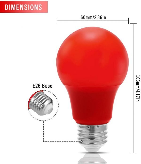 Piros Éjszakai Alvást Elősegítő LED izzó, körte, lámpa